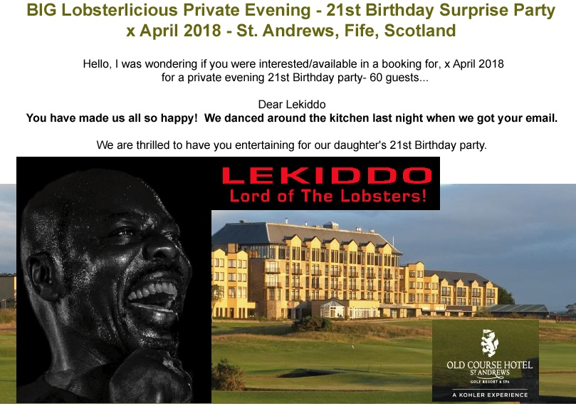 LEKIDDO - Lord of The Lobsters! live a BIG Lobsterlcious 21st Private Evening, Birthday Party - St Andrews, Scotland #PinchyPinchykisskiss