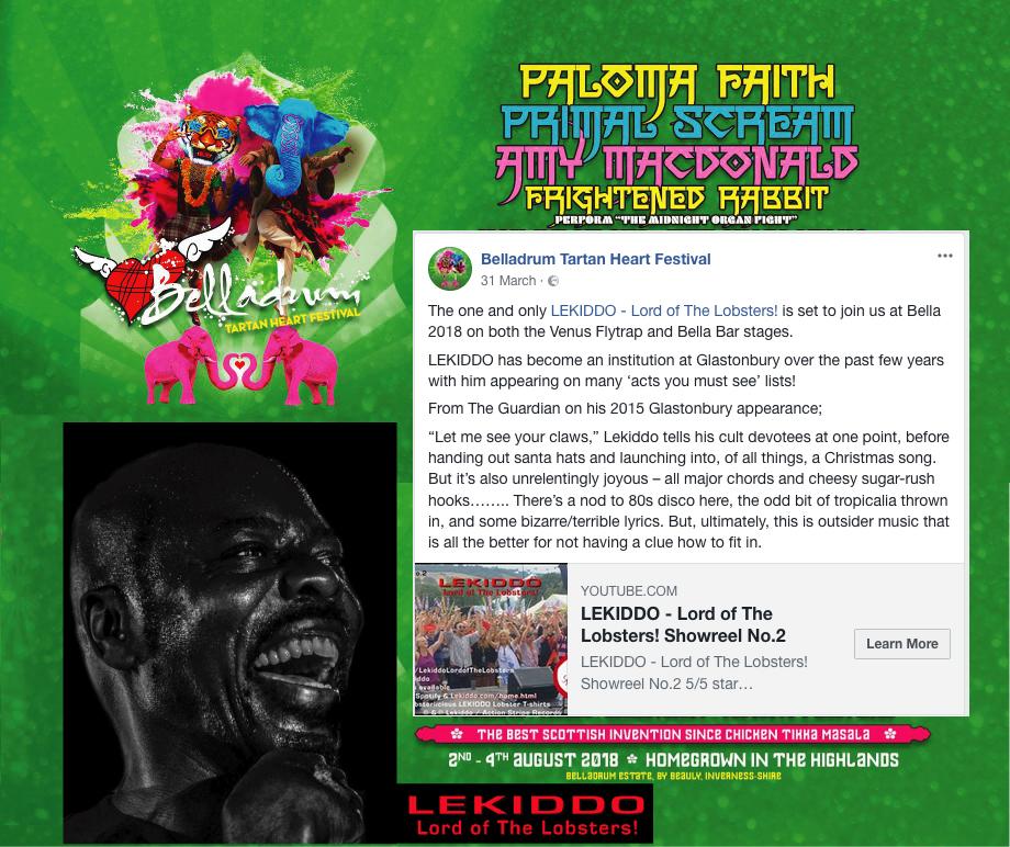 LEKIDDO - Lord of The Lobsters! live at Belladrum Tartan Heart Festival 3-4 August 2018 #PinchyPinchykisskiss