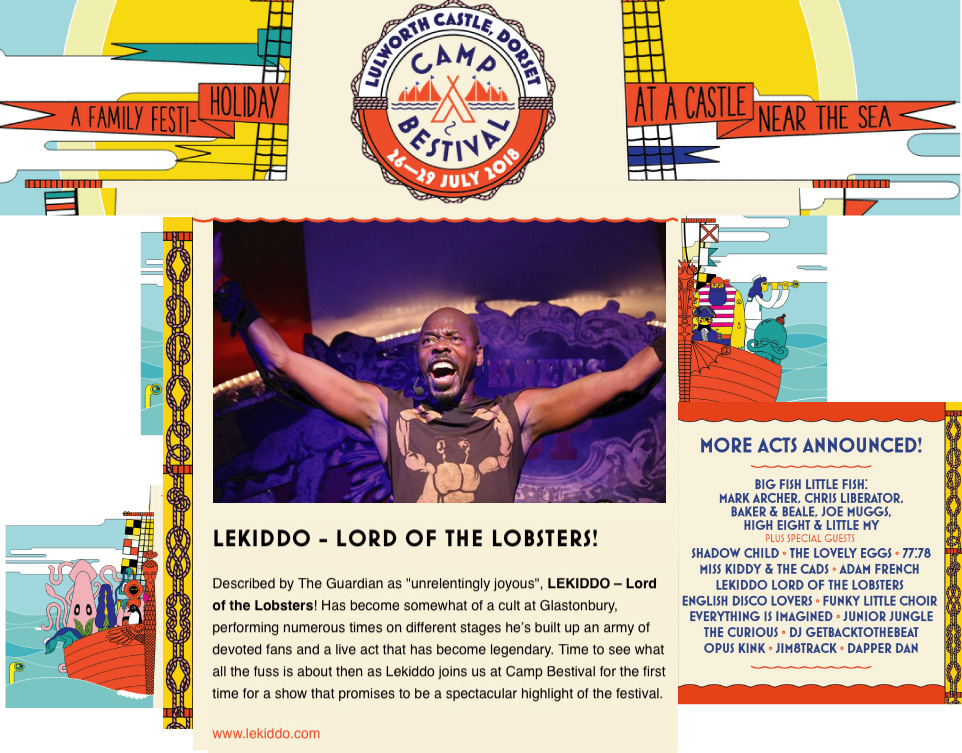 LEKIDDO - Lord of The Lobsters! live at Camp Bestival 26-29 July 2018 #PinchyPinchykisskiss