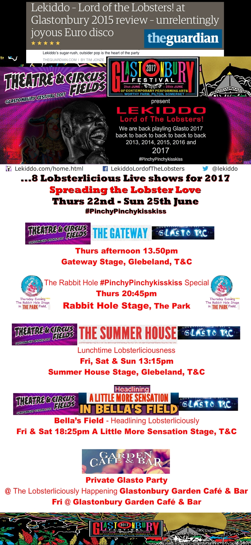 LEKIDDO - Lord of The Lobsters! returns to Glastonbury Festival 2017 with 8 Lobsterlicious live shows #PinchyPinchykisskiss
