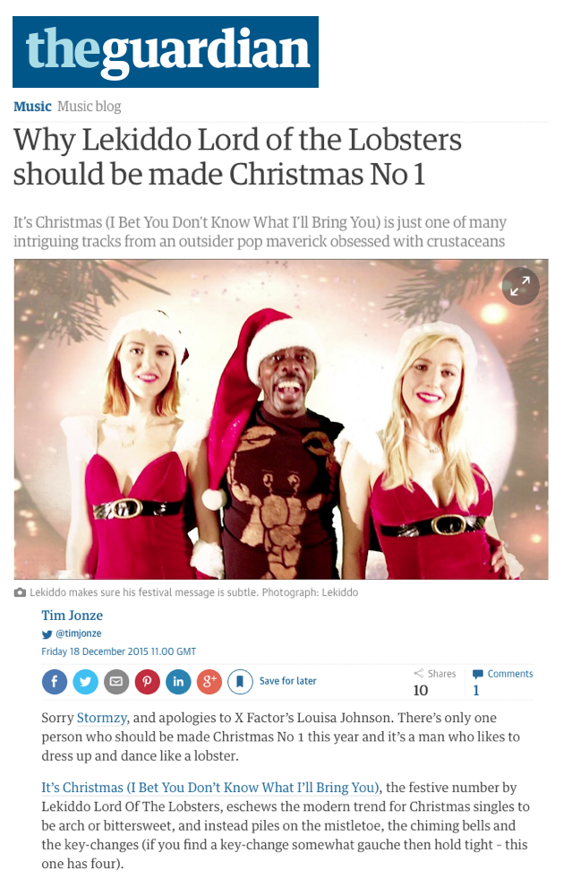 TheGuardian, TimJonze: Why LEKIDDO - Lord of The Lobsters! should be made Christmas No1