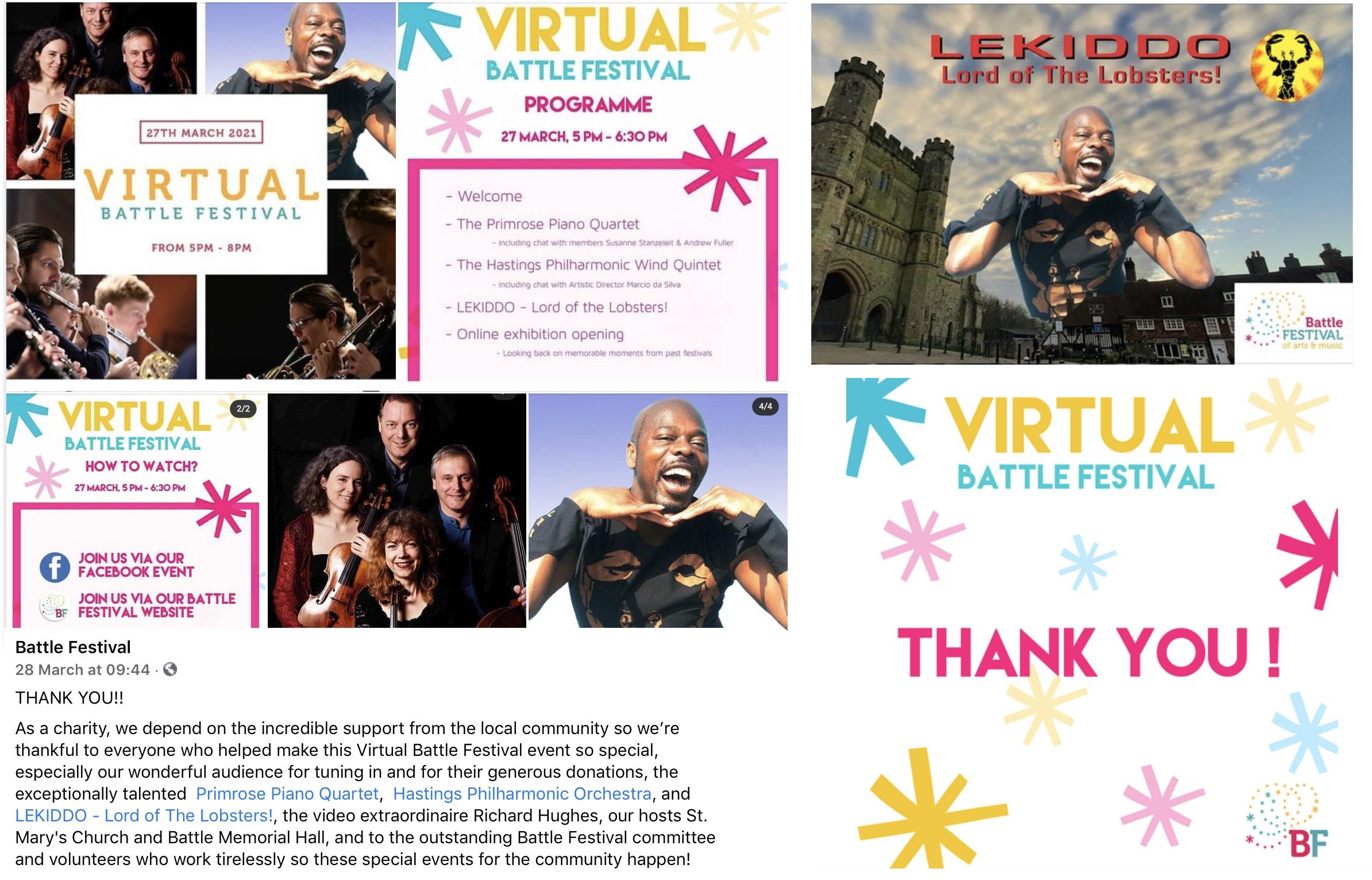 LEKIDDO - Lord of The Lobsters! is Headline Artist at Virtual Battle Festival, 27 March 2021