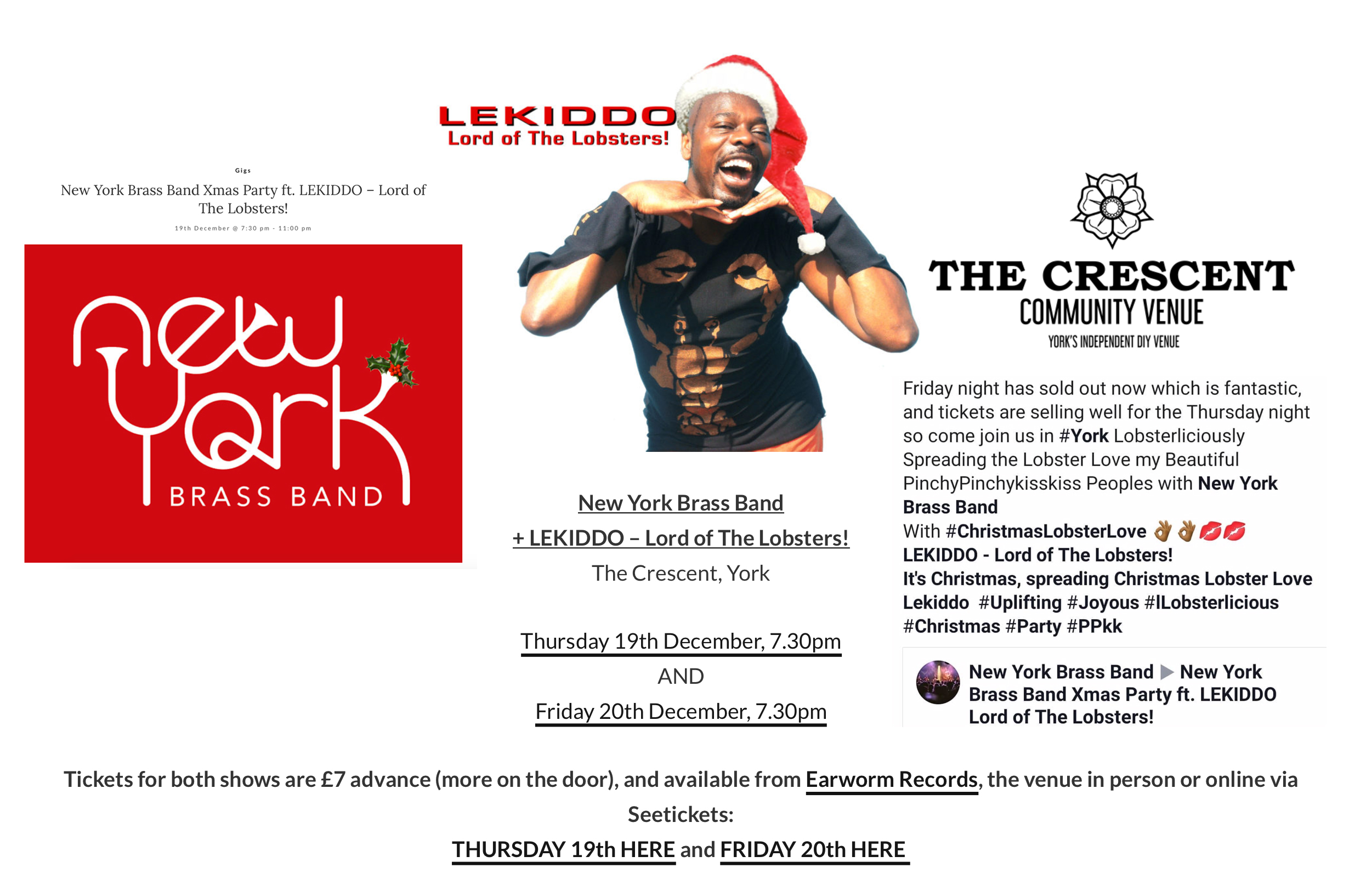 LEKIDDO - Lord of The Lobsters! live at The Cresent York supporting New York Brass Band 19 & 20 Dec 2019 #PinchyPinchykisskiss