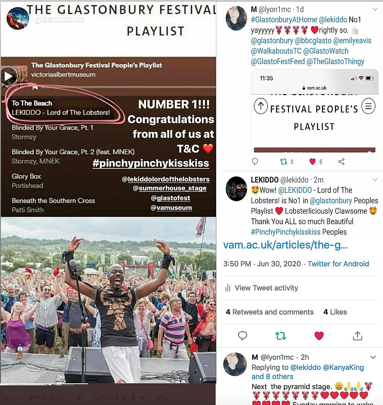 LEKIDDO – Lord of The Lobsters! Number 1 !!!! Congratulatiosn from all of Us at T&C #PinchyPinchykisskiss @lekiddolordofthelobsters @glastotanc @summerhouse_stage @vamuseum @glastonbury @glastofest