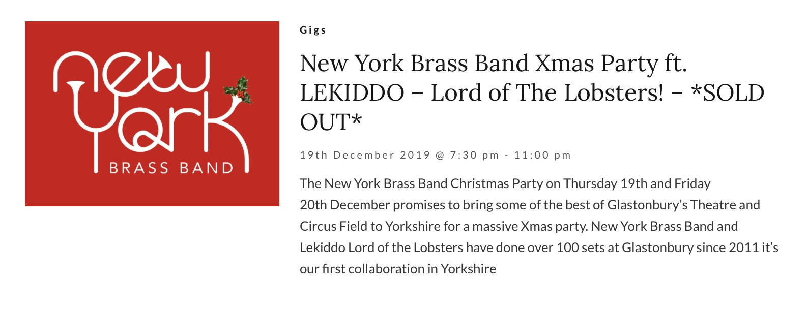 New York Brass Band Xmas Party ft. LEKIDDO – Lord of The Lobsters! – *SOLD OUT*
