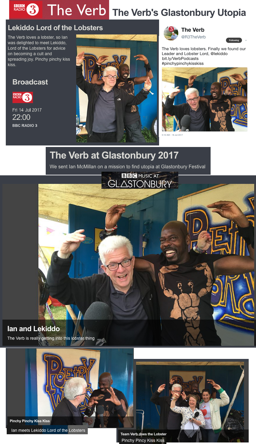BBC Radio 3, The Verbs Lobsterlicious interview & review with LEKIDDO - Lord of The Lobsters! at Glastonbury Festival 2017, BBC Music at Glastonbury, BBC Radio 3, The Verb, 5/5 stars rating, The Guardian, Observer, Global Headlines, festival overlord, world news, National News, outstanding, festival dairy, globalheadlines, Glasto Legend, all-singing, all-pincering veteran, #PinchyPinchykisskiss
