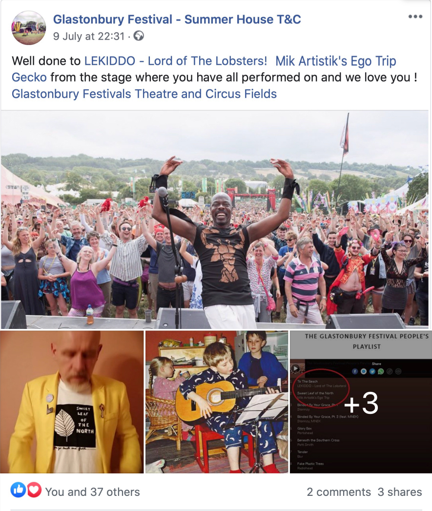 LEKIDDO – Lord of The Lobsters! Number 1 !!!! Congratulatiosn from all of Us at T&C #PinchyPinchykisskiss @lekiddolordofthelobsters @glastotanc @summerhouse_stage @vamuseum @glastonbury @glastofest Well done to LEKIDDO - Lord of The Lobsters !Mik Artistik's Ego Trip Gecko from the stage where you have all performed on and we love you ! Glastonbury Festivals Theatre and Circus Fields