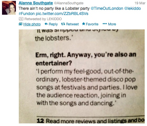 There ain't no party like a Lobster party @TimeOutLondon @lekiddo #Fundon